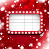 Red Christmas poster with light sign and white frame Royalty Free Stock Images