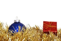 Red christmas present an blue ornament Stock Photo