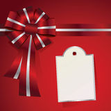 Red Christmas Present Bow and Message Royalty Free Stock Photos