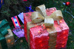 Red Christmas present outdoor decoration Royalty Free Stock Photos