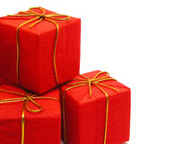 Red Christmas Presents. Isolated Stock Photos