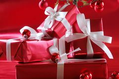 Red Christmas presents Stock Photo