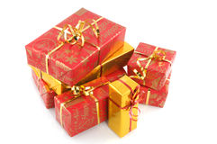 Red christmas presents. Stack with red and golden christmas presents Royalty Free Stock Photography