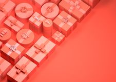 Red Christmas Presents Background stock photos