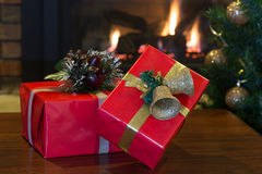 Red Christmas Presents Stock Images