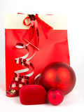 Red Christmas presents on white. Background Royalty Free Stock Images
