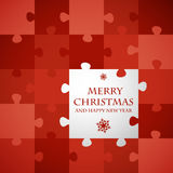 Red christmas puzzle card Royalty Free Stock Photos