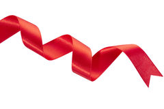Red Christmas ribbon. Red ribbon isolated on white, clipping path included Stock Images