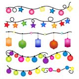 Red Christmas ribbon banners with snowflakes. Christmas lights and party on white background Stock Image