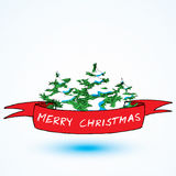 Red Christmas ribbon with drawing tree. Christmas concept card Royalty Free Stock Photo