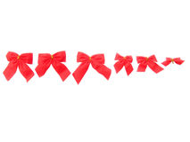 Red Christmas ribbons. Six beautiful red Christmas ribbons different in the size Stock Photography