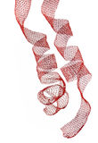 Red christmas ribbons. Over white Stock Image