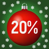 Red Christmas Sale ball icon, new year and xmas. Red 20 percent discount ball Stock Illustration