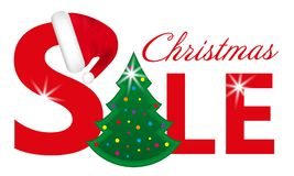 Red Christmas sale banner with Christmas Tree and Santa hat isolated on white background. Vector. Illustration Stock Photos