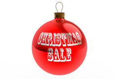 Red Christmas Sale Bauble. A red Christmas bauble with the worde Christmas Sale written across it isolated against a white background Stock Photo
