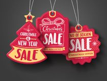 Red Christmas sale paper tags vector set with different shapes and hand drawn elements