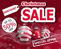 Red Christmas sale poster or banner with three Christmas balls. Vector. Illustration Stock Photos