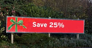 Red Christmas sale sign. save 25% off sale sign Stock Image