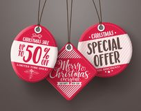 Red christmas sale tags vector set hanging with different sale. And discount text for christmas holiday marketing promotions. Vector illustration Royalty Free Stock Image