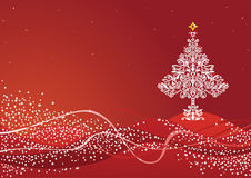 Red Christmas scene. Detailed white Christmas tree ornament on red background Royalty Free Stock Image