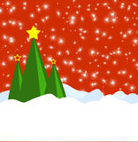 Red Christmas Scene. A Christmas scene with three trees, a red background, and snow Royalty Free Stock Images