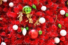 Red christmas scene. A christmas background featuring a red christmas tree Stock Photo