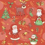 Red christmas seamless pattern. Royalty Free Stock Photo