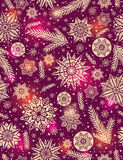 Red Christmas seamless pattern background with snowflakes Royalty Free Stock Images