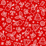 Red christmas seamless pattern in cartoon style Stock Photos
