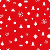 Red Christmas seamless pattern with small snowflakes, snow and Christmas trees. New Year background for wallpaper, fabric, textile, packaging, gift, template Stock Images