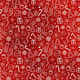 Red Christmas Seamless Pattern Stock Image