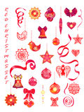 Red christmas set Royalty Free Stock Images