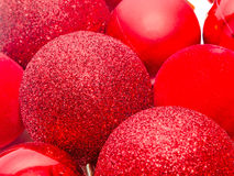 Red christmas shinny globes, christmas tree ornaments. Royalty Free Stock Image