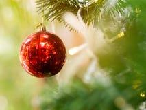 Red christmas shiny ball hanging on pine tree. Red christmas shiny ball decorate on pine tree with light warm bulb Royalty Free Stock Photo