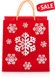 Red Christmas shopping bag with paper snowflakes. Red vector Christmas shopping bag with paper snowflakes Stock Photo