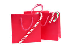 Red christmas shopping bags Stock Photography