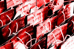 Red christmas shopping bags background Stock Photo