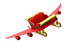 Free Red Christmas Sled On White Background. Isolated 3D Illustration Royalty Free Stock Photography - 161140757