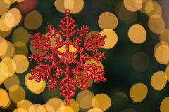 Red christmas snowflake decoration hanging Stock Photos