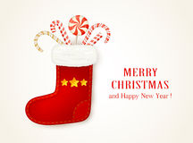 Red Christmas sock with candy cane Stock Image