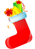 Red christmas sock with gifts. Red nice christmas sock with gifts, seasonal Royalty Free Stock Photography