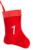 Red christmas sock for gifts. advent symbol Stock Photo