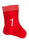 Red christmas sock for gifts. Stocking. Advent symbol Stock Photos