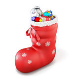 Red christmas sock with gifts  on white background. 3d. Royalty Free Stock Photography