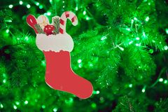 Red Christmas sock with presents with green bokeh background.  Stock Photography