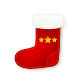 Red Christmas sock on white background Stock Photos