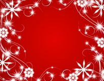 Red Christmas Sparkling Lights Background. A background illustration featuring decorative white swirling lines, snowflakes and sparkling lights set against red Royalty Free Stock Photography