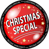 Red christmas special button Stock Images