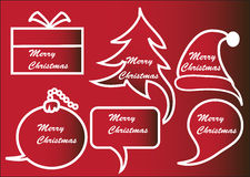 Red Christmas speech bubbles Stock Photos