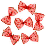 Red Christmas spotted bows Stock Image